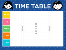 TIME TABLE. Instant cute class time table is ready to print for the first day of semester start Stock Photography
