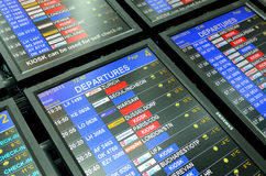 Time table for planes at Prague airport Royalty Free Stock Photos