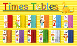 Time tables chart with happy kids on yellow background. Illustration Stock Photo
