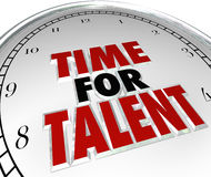 Time for Talent Clock Looking Searching Job Candidates Skilled P. Time for Talent words on a white clock face to illustrate a search for skilled workers, job royalty free illustration