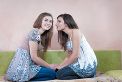 Time for talking, chatting by two girl friends Stock Photo