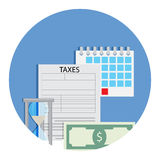 Time for taxation icon. Accounting money banknote, finance banking taxation. Vector illustration Royalty Free Stock Photography