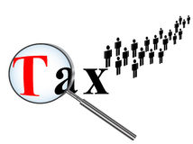 Time for taxes. Tax paying theme against white background Stock Photography