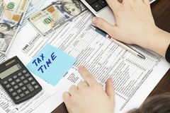 Time for Taxes Money Financial Accounting Taxation Concept.  Stock Images