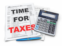 Time for taxes. Tax Return 1040, calculator and pencil Royalty Free Stock Images