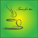 Time For Tea. Cup of tea on the Green background Stock Photography