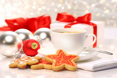 Time for a tea break. During the holiday season royalty free stock photos