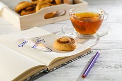 Time of Tea Break on the table top view. beautiful tablecloth wi Royalty Free Stock Photos