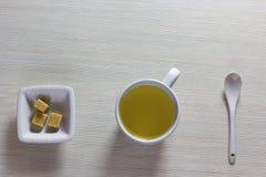 Time for tea break.White porcelain tea Stock Image