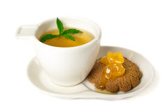 Time for tea. Cup of tea and cookie isolated on white background Stock Image