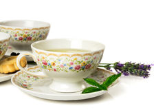 Time for tea. Cups of tea  on white background Stock Images