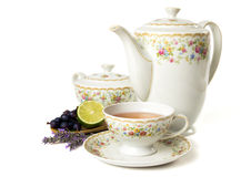 Time for tea. Tea set isolated on white background Royalty Free Stock Images