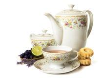 Time for tea. Tea set isolated on white background Stock Photos