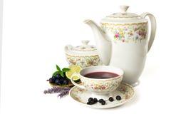 Time for tea. Tea set isolated on white background Royalty Free Stock Photos
