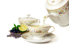 Time for tea. Tea set isolated on white background Stock Image