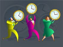 Time team. Team of colourful executives carrying office clocks - concept illustration Royalty Free Stock Photo