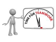 Time for teamwork. 3d toon figure next to a time for teamwork clock drawing on a whiteboard Royalty Free Stock Photo