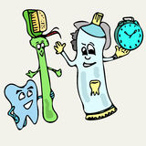 It is time for teeth brushing Stock Images