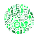 Time theme modern simple green icons in circle eps10 Royalty Free Stock Photos