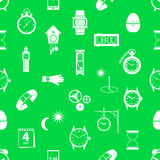 Time theme modern simple icons seamless green pattern eps10 Stock Images