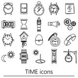 Time theme modern simple outline icons set eps10 Royalty Free Stock Photos