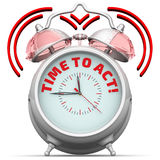 Time to act! The alarm clock with an inscription Royalty Free Stock Photo