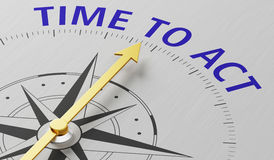 Time to act. Compass needle pointing to the text Time to act Royalty Free Stock Images
