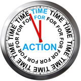 Time to action. 3d illustration of clock with 'time to action Stock Images