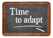 Time to adapt blackboard sign. Time to adapt - white chalk text on a vintage slate blackboard isolated on white Royalty Free Stock Photo
