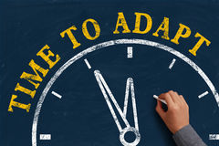 Time to adapt. Businessman is drawing the concept of time to adapt on chalkboard Stock Image