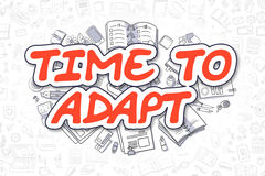 Time To Adapt - Doodle Red Text. Business Concept. Stock Photo