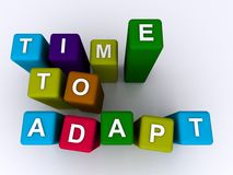 Time to adapt. Text 'time to adapt' in white uppercase letters inscribed  on colorful bricks, white background Stock Photography