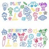Time to adventure Imagination Creativity Small children play Nursery Kindergarten Preschool School Kids drawing doodle Stock Images