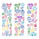 Time to adventure Imagination Creativity Small children play Nursery Kindergarten Preschool School Kids drawing doodle. Icon Pattern Play, study learn with Stock Images