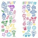 Time to adventure Imagination Creativity Small children play Nursery Kindergarten Preschool School Kids drawing doodle Stock Photos