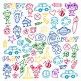 Time to adventure Imagination Creativity Small children play Nursery Kindergarten Preschool School Kids drawing doodle Royalty Free Stock Image