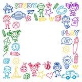 Time to adventure Imagination Creativity Small children play Nursery Kindergarten Preschool School Kids drawing doodle Royalty Free Stock Photo