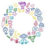 Time to adventure Imagination Creativity Small children play Nursery Kindergarten Preschool School Kids drawing doodle Royalty Free Stock Images