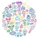 Time to adventure Imagination Creativity Small children play Nursery Kindergarten Preschool School Kids drawing doodle Stock Photography