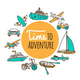 Time to adventure. Set passenger transport. Planes, ships, cars, and boats drawn by hand on a white background. Vector illustration in cartoon style royalty free illustration