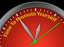 Time to advertise yourself. Motivation message on concept clock 3d rendering Royalty Free Stock Photography