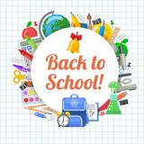 Time to back to school objects round composition royalty free stock photo