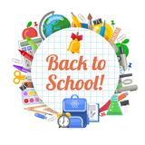 Time to back to school objects round banner royalty free stock photos