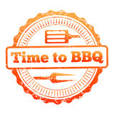 Time to BBQ colorful label design stock illustration
