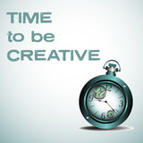 Time to be creative. Abstract colorful illustration with blue watch and the text time to be creative written with blue letters Royalty Free Stock Photo
