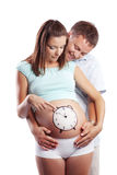 Time to birth. Conceptual image of family couple waiting new baby royalty free stock photos