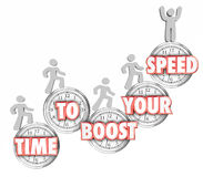 Time to Boost Your Speed Words Clocks People Increasing Fast Stock Images