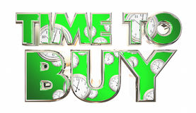 Time to Buy Clocks Customer Purchase Words Royalty Free Stock Image