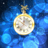 Time to celebrate new year. Beautiful, vintage clock hands show 10 minutes to midnight Royalty Free Stock Photos