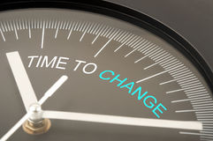 Time to change. Text on clock Stock Image